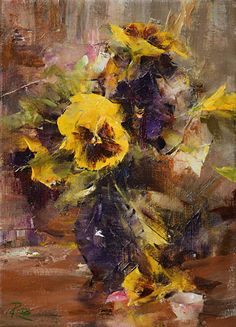 Yellow Pansies by Laura Robb Oil ~ 11 x 8