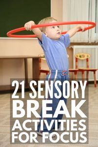 21 Sensory Break Activities for Kids | Also known as 'brain breaks' & 'movement breaks', these sensory breaks for kids are perfect to help students with ADD, ADHD, sensory processing disorder, autism & other developmental delays calm down & focus in the classroom. Perfect for teachers & parents, these fun ideas also develop gross motor skills, improve self-regulation & help with behavior management in the classroom.