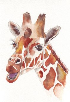 LOVE this watercolor! Such friendly eyes. I want a giraffe now!