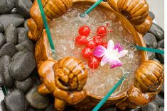 Meant for sharing, the Scorpion Bowl at Rhumbar at Mirage in #Vegas is a tiki punch made with Captain Morgan White Rum, Captain Morgan 100 Rum, Bombay Sapphire, Bacardi 8, Giffard orgeat, grenadine, pineapple juice, orange juice, fresh lime juice and drunken cherries.