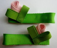 Rose Bud Hair-clips (Ribbon Sculpture) (set of two)