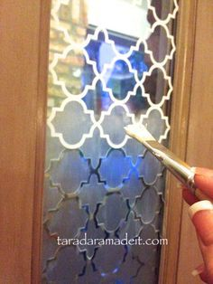 #DIY  How to Etch your Glass in Minutes! It's amazing how this has changed the feeling in the front foyer. I was so tired of strangers being able to see in my house.