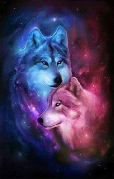 Blue & Pink Cosmic Wolves