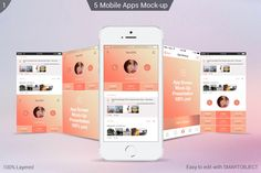 iPhone apps Mock-ups by ORCOLOR on @creativemarket