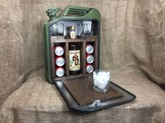 Items similar to jerry can tool box on etsy - Jerry Can Mini Bar For Sale – US Seller: Bar Decor, Garage Decor, Gas Can Bar - Mini Bars, Jerry Can Mini Bar, Knotty Pine Doors, Home Bar Furniture, Furniture Ideas, Barrel Furniture, Portable Bar, Ammo Cans, Outside Bars