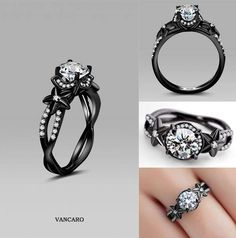 925 sterling silver black engagement ring for women in unique flower style - Black Wedding Rings For Women