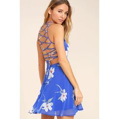 Happy Together Royal Blue Floral Print Lace-Up Dress ($54) ❤ liked on Polyvore featuring dresses, blue, circle skirt, floral print dress, lace up front dress, pink skater skirt and flared skirt