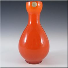 Elme 1970's Swedish/Scandinavian Orange Cased Glass Vase - £25.00