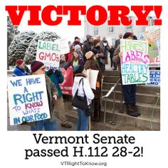 BREAKING NEWS: H112 passes the Senate 28-2 in favor! The final Senate vote took place just moments ago. Thank you all for supporting VT Right To Know GMOs and H.112. Keep up with us here: www.vtrighttoknow.org #GMOs #RightToKnow #LabelGMOs