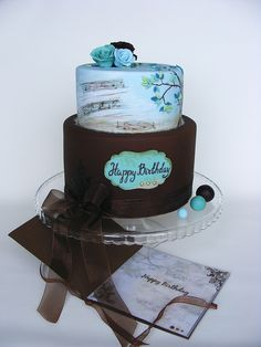 Blue and brown cake | Flickr - Photo Sharing!