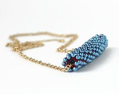 Necklace crocheted wire tube form.Mesh plastic от MiracoliSpB