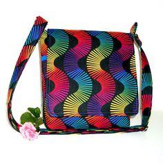 Small Messenger Bag, Hip Bag, Black with Jewel Tone Stripes
