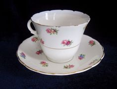 Colclough Bone China Tea Cup and Saucer - Floral Sprays - 6453 - England | eBay