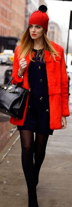 PETITE-SOPHIE HAT,   3.1 PHILLIP LIM DRESS,   ELIZABETH AND JAMES RED FUR COAT,   HERMES BIRKIN BAG