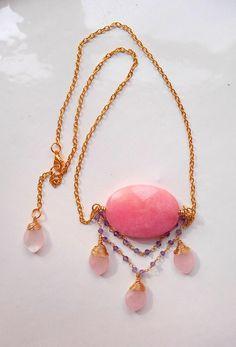 Maribelle pendant necklace gemstone cluster pendant quartz