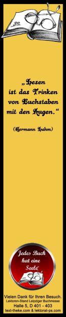 #Lesezeichen #Zitat Buch - am Lektorenstand als #Give-away zum Mitnehmen - Leipziger #Buchmesse, Halle 5, D 401-403 http://www.lektorat-ps.com/Lektorenstand-Buchmesse