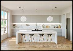 Modern Kitchen Interior Unique kitchen pendant lights will always have a place. Modern Kitchen Island, Modern Kitchen Design, Interior Design Kitchen, Kitchen Islands, White Contemporary Kitchen, Modern Design, One Wall Kitchen, New Kitchen, Kitchen Decor