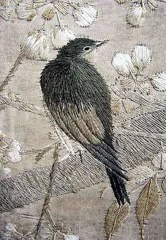 This Ivy House — chasingrainbowsforever: Hand-embroidered Bird . Embroidered Bird, Bird Embroidery, Cross Stitch Embroidery, Thread Art, Thread Painting, Bordados E Cia, Art Textile, Fabric Art, Silk Fabric