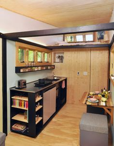 The Toybox Tiny Home is a modern, colorful 140 square feet tiny house on wheels in Lake Forest, Illinois. Tiny House Swoon, Tiny House Plans, Tiny House On Wheels, Tiny House Design, Tiny House Mobile, Mobile Homes, Tiny House France, Tiny House Storage, Smart Storage