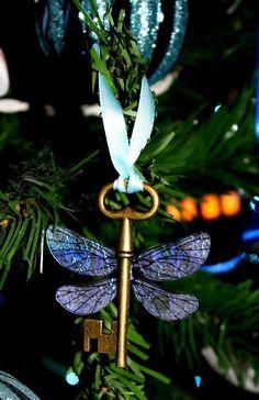 A dragonfly key Christmas ornament