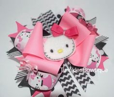 Pink hello kitty over the top boutique hairbow by TwinklesBowtique, $12.00