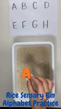 Rice Sensory Bin Alphabet Practice Activity for Toddlers and Preschoolers