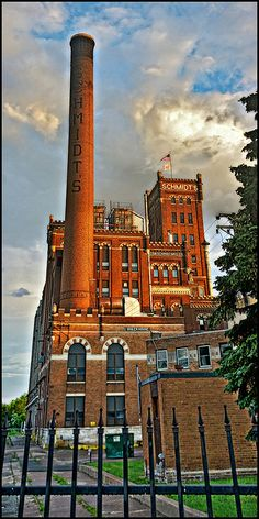 """The old Schmidt brewery in old Swede Hollow, where new immigrants squatted in old shacks along a stream and worked their way """"up onto the street.""""  St Paul, MINNESOTA"""