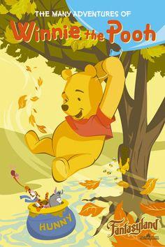 The Many Adventures of Winnie The Pooh poster, Hong Kong Disneyland Vintage Disney Posters, Disney Movie Posters, Cartoon Posters, Vintage Disneyland, Vintage Cartoon, Cartoons, Disney Love, Disney Art, Walt Disney