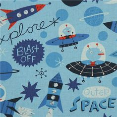 Seamless space pattern planets rockets and stars for Outer space fabric uk