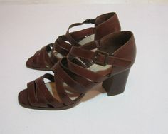 Vintage Brown Leather Strappy Boho Heels Size 8 by silkstocking, $24.00