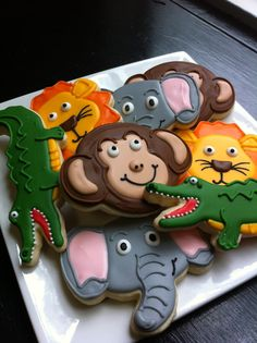 Cut out cookies are little edible works of art. I love looking at pictures of beautifully decorated cookies. I have rounded up a big selection of cookies to sha Zoo Birthday Cake, Alligator Birthday Parties, Animal Birthday Cakes, Jungle Theme Birthday, Birthday Cookies, Birthday Ideas, Zoo Animal Cakes, Animal Cupcakes, Zoo Animal Party
