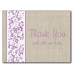 Rustic Burlap & Vintage Lace Wedding Thank You Postcard