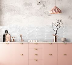 No matter that food will delicious or not but fabulous would it be to have a peach kitchen and white wall. Peach Kitchen, Wall Tiles Design, Room Tiles, White Walls, Clouds, Gelato, Inspiration, Food, Home Decor