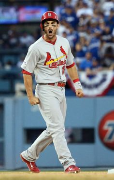 Matt Carpenter celebrates after driving in three runs with a double in the seventh inning of Game 1 of the NLDS between the Cardinals and the Dodgers, Oct. 3, 2014, at Dodger Stadium in Los Angeles. Photo by Chris Lee, clee@post-dispatch.com