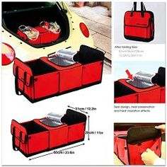 Roll over image to zoom in        Foldable Multi Compartment Fabric Car Truck Van SUV Storage Basket Trunk Organizer and Cooler Set Random Color. Price: $29.99 Sale: $17.45 + $3.98 shipping You Save: $12.54 (42%)
