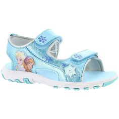 Disney Frozen Sporty Sandal (Girls' Toddler) ($15) ❤ liked on Polyvore featuring shoes, sandals, blue, velcro closure shoes, disney, sporty sandals, summer sandals and padded sandals