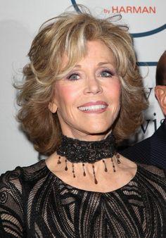 Jane Fonda medium hairstyle with bangs and highlights