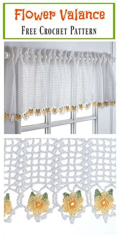 Best Ideas For Crochet Flowers Curtain Free Pattern Crochet Thread Patterns, Crochet Curtain Pattern, Crochet Curtains, Crochet Motifs, Crochet Cushions, Crochet Yarn, Crochet Flowers, Crochet Geek, Sewing Curtains