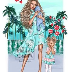 Image may contain: 2 people, people standing and text Mother Daughter Art, Mother Daughter Fashion, Mother Art, Family Illustration, Illustration Artists, Anastasia, Disney Collection, Canvas Art Quotes, Pop Art Wallpaper
