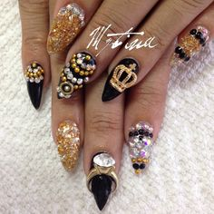 """.@nailsbymztina   """"Up close and personal"""" gold and silver glass dust + charmes from @...   Webstagram"""