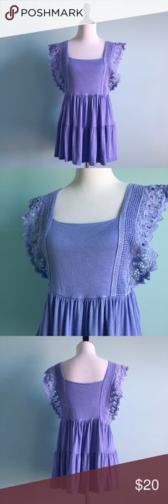 Blue Flowy Lace Blouse Blue loose-fitting tiered Blouse with Lace detailing on straps. Super comfortable and soft. Size 2X by Soprano. Worn once, in excellent condition. Soprano Tops Blouses