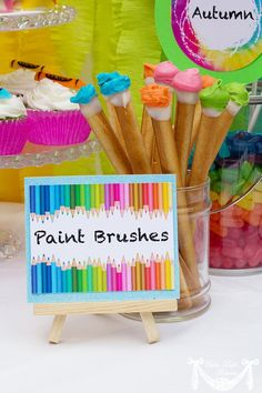 artist party ideas/ used this idea on my pretzel paintbrushes