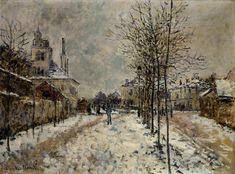 Snow Effect, The Boulevard de Pontoise at Argenteuil, 1875 by Claude Monet. Impressionism. cityscape