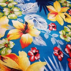Hawaiian Fabric Blue Floral with Hibiscus One Yard by GreenWash, $5.00