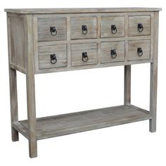 Add a rustic touch to your entryway or living room with this 8-drawer console table, showcasing ring pulls and a grey wash.  Product...