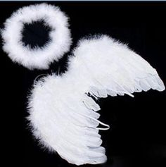 2pcs Lovely Baby Kids Feather Fairy Angel Wings Halo Party Costume Photo Props
