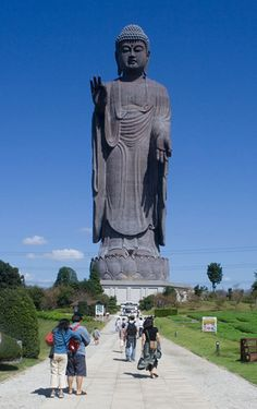 The Ushiku Amida Buddha of Japan stands a total of 120 meters (394 feet) tall, including the 10m high base and 10m high lotus platform.