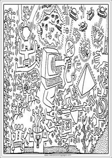 printable keith haring arts adults coloring pages coloring pages