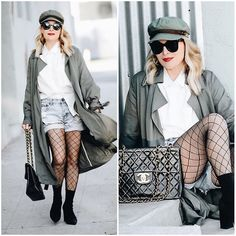 Get this look: http://lb.nu/look/8932103  More looks by Zia Domic: http://lb.nu/huntercollector  Items in this look:  Loosely Khaki Trench, One Teaspoon Denim Shorts   #casual #chic #classic #90s #denimshorts #chanel #layers