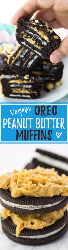 These peanut butter Oreo muffins are seriously amazing! Incredibly easy to make, heavenly chocolaty, and so decadent! A they're a real eye-catcher! My favorite vegan muffins! <3 | veganheaven.org